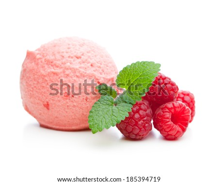 A scoop of raspberry ice cream with mint and raspberries - stock photo
