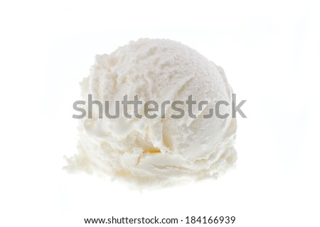 A scoop of yoghurt ice cream isolated on white background