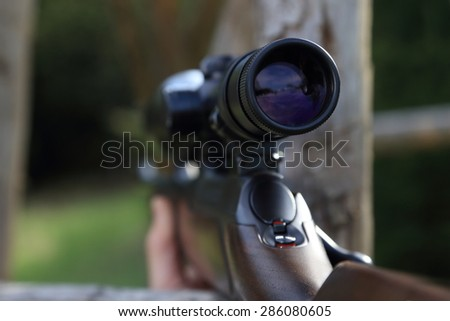 A Scope of a hunting rifle gun - stock photo