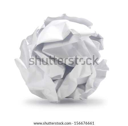 A screwed up piece of paper in ball shape., Crumpled sheet of paper isolated ., Junk paper can be recycle on white background - stock photo
