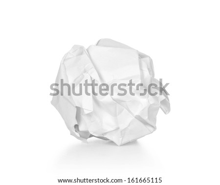 A screwed up piece of paper over a white background. - stock photo