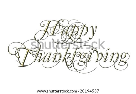 A scroll message on white - Happy Thanksgiving. - stock photo