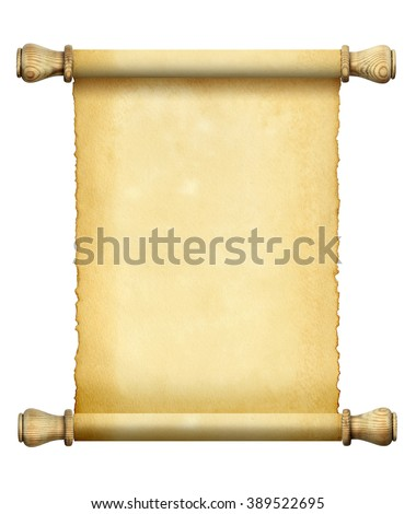 A scroll of old stained paper isolated on white background