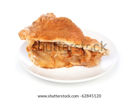 A scrumptious slice of apple pie on a white background - stock photo