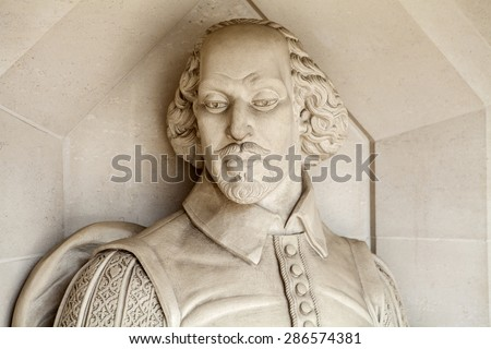 A sculpture of famous playwright William Shakespeare situated outside Guildhall Art Gallery in London. - stock photo