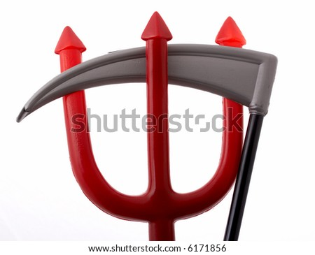 A scythe blade and a trident isolated on a white background - stock photo