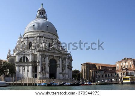 A sea view to the Basilica Santa Maria della Salute, Venice - stock photo