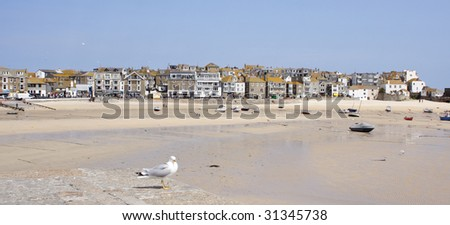 A seagull sits on the harbour wall at St. Ives. The tide is out  and some boats are beached. - stock photo