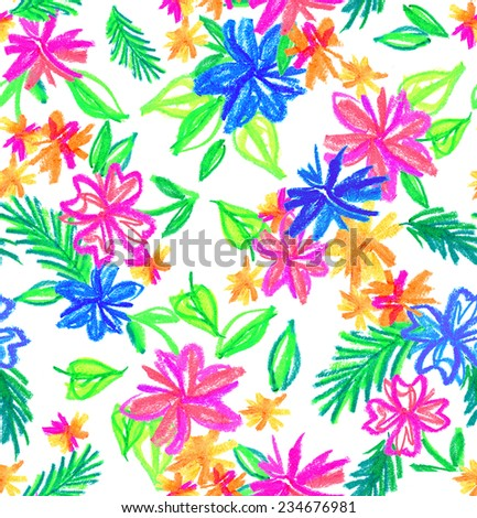 a seamless allover pattern with primitive flower bouquets drawn with crayons and oil pastels. childlike, young and naive.  - stock photo