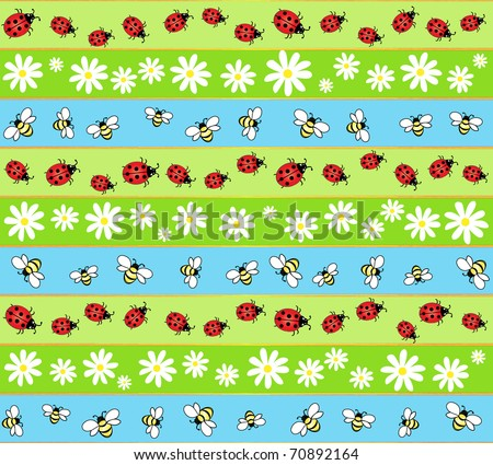 A seamless background of bees, ladybirds and daisies. Also available in vector format - stock photo