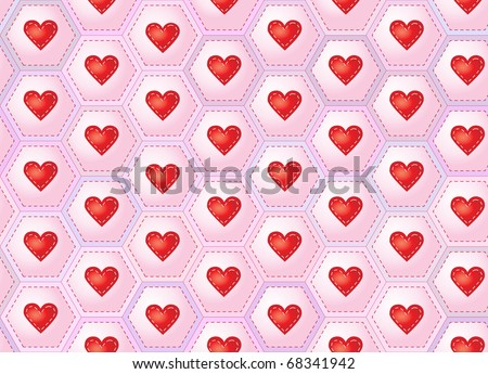 A seamless background of hearts sewn onto patchwork hexagons. Also available in vector format. - stock photo