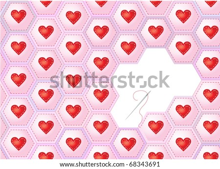 A seamless background of hearts sewn onto patchwork hexagons with needle and thread. Also available in vector format. Space for text. - stock photo