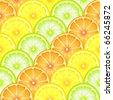 A seamless background of sliced oranges, lemons and limes. Also available in vector format - stock vector