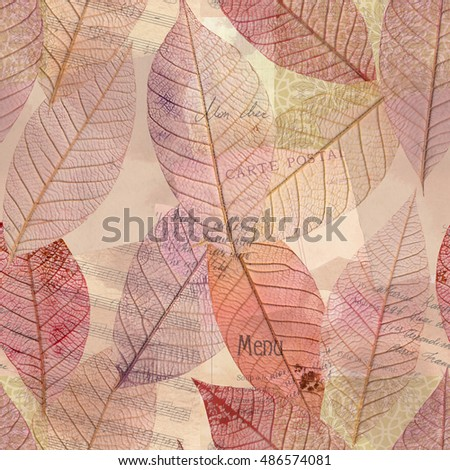 A seamless background pattern of purple tinted skeleton leaves on old ephemera. Autumnal repeat print with sheet music, scraps of vintage letters etc