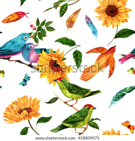 A seamless background pattern with watercolor drawings of birds (green, teal, and golden), vibrant feathers, butterflies, and sunflowers, hand painted on white background - stock photo