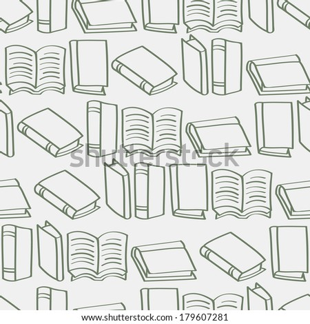 A seamless background tile with outlined cartoon books pattern. Raster Version.
