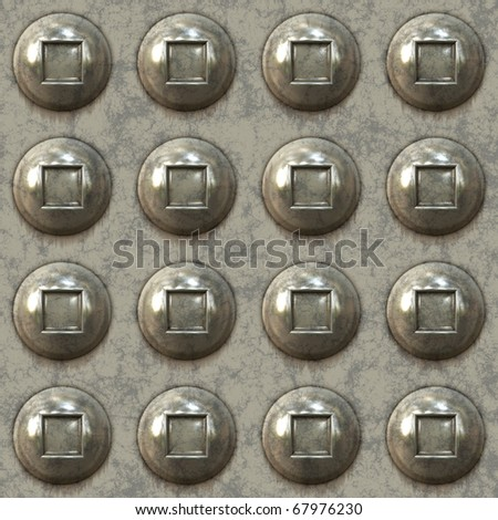 A seamless 3D illustration of some metal rivets in rows.  This image creates a pattern when tiled in any direction. - stock photo