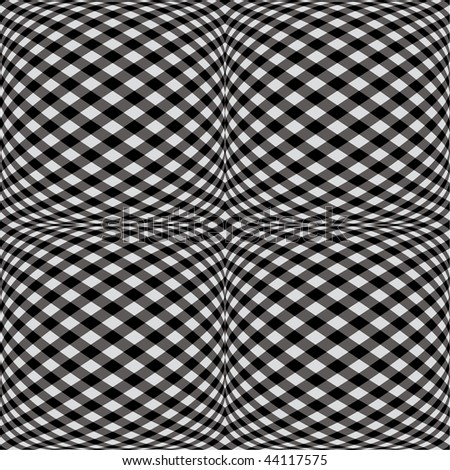 A seamless fisheye gingham pattern in black and white. - stock photo