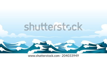 a seamless horizontal pattern with ocean waves - stock photo