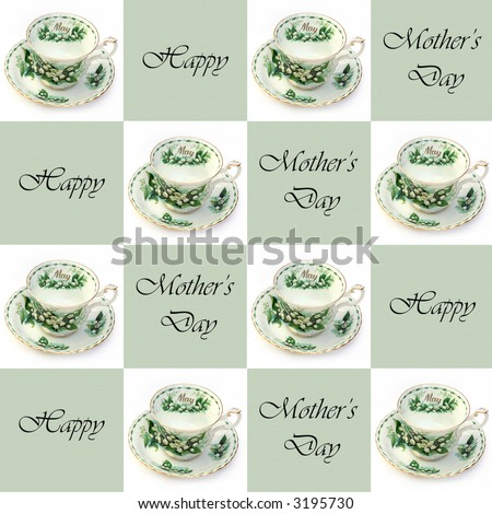 A SEAMLESS Mother's Day background with May teacups - stock photo
