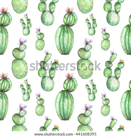 A seamless pattern with the watercolor various kinds of cactus, hand drawn on a tender pink background - stock photo