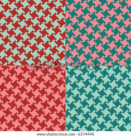 A seamless, repeating houndstooth pattern in four vintage colorways. Vector format also available. - stock photo