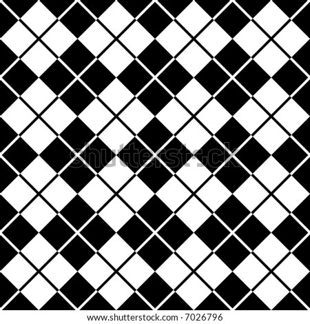 """A seamless, repeating 12"""" square argyle pattern in black and white. - stock photo"""