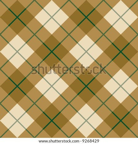 """A seamless 12"""" square plaid pattern in golden browns with a green stripe. - stock photo"""