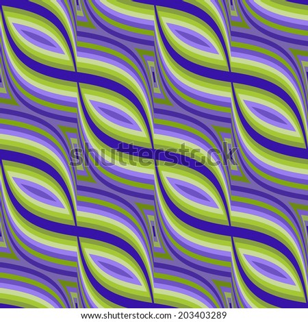 A seamless tile in a retro swirl pattern in blues, purples, and bright greens. - stock photo