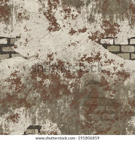 A seamless tile of a grungy dirty brick and plaster wall. - stock photo