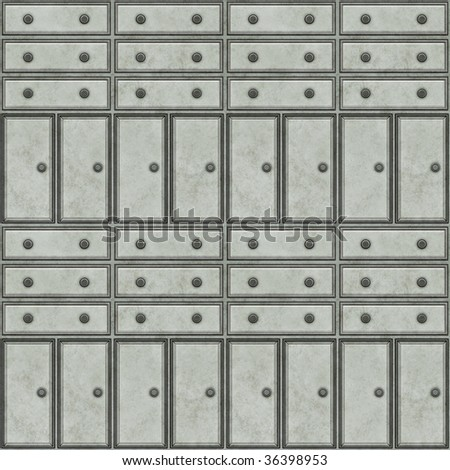 A seamless tiling pattern made from the fronts of metal cabinets - stock photo