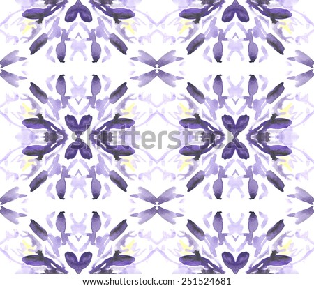 A seamless watercolor abstract geometric floral pattern - stock photo