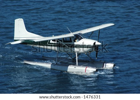 A seaplane ready for take off - stock photo