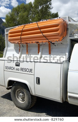 A search and rescue vehicle on duty in the Rocky - stock photo