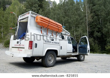 A search and rescue vehicle on duty in the Rocky  Mountains. - stock photo