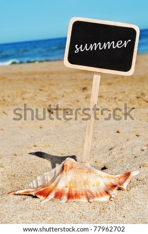 a seashell on the sand of a beach and the word summer written in a blackboard label - stock photo