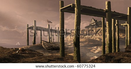A seaside cottage on the shoreline with two old docks over looking the sea at low tide. - stock photo
