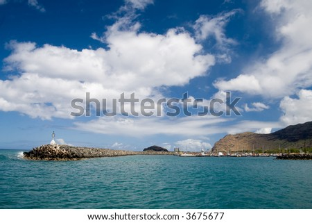 A seaside view of Waianae Harbor - stock photo