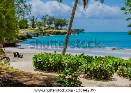 A Secluded Beach and Turquoise Sea in Barbados - stock photo