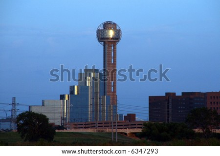 A section of buildings in the Dallas Texas Skyline at dusk. - stock photo