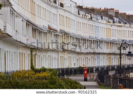 A section of Royal York Crescent in Clifton, Bristol UK, a Georgian terrace reputed to be the longest in Europe - stock photo