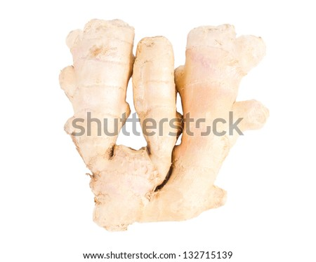 A section of the pungent aromatic rhizome of fresh root ginger used as a seasoning and spice in cooking isolated on white - stock photo