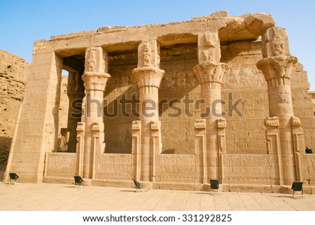 A section of the ruined temple of Edfu, Egypt