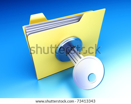 A secured / encrypted Folder. 3D rendered Illustration. - stock photo