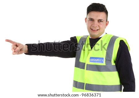 A security guard pointing, isolated on white - stock photo