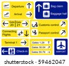 A selection of Airport signs. Also available in vector format. - stock vector