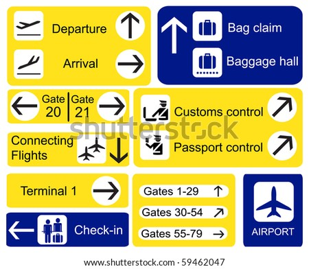 A selection of Airport signs. Also available in vector format. - stock photo