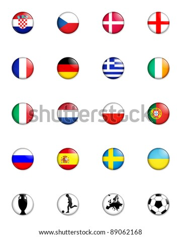 a selection of badge like images showing the flags of all the competing countries of the 2012 european championship football tournament and four other related badges. - stock photo