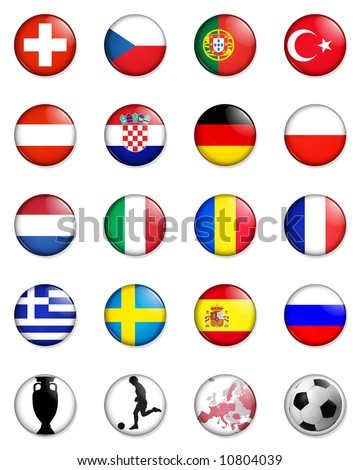 a selection of badge like images showing the flags of all the competing countries of the 2008 UEFA european championship football tournament and four other related badges. - stock photo