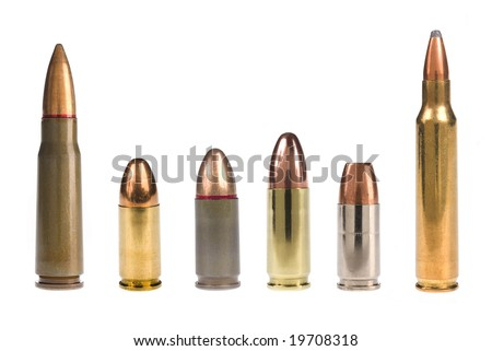 A selection of bullets isolated on white.